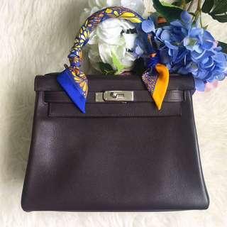 ⚡️RARE!⚡️ Very Good Condition Hermes Kelly 28 In Ebene Evergrain Leather and Palladium Hardware