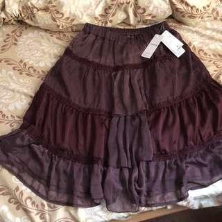 日本深紫半截過膝紗裙