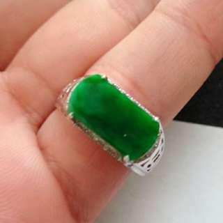 🎍18K White Gold - Grade A Green Saddle/Rectangle Jadeite Jade Man's Ring🎍