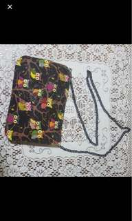 BN black owl printed design sling bag