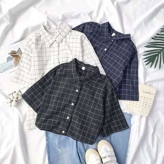 [PO] grid button up front pocket boxy top