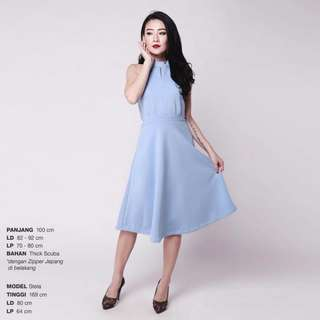 PROMO!!! Dress Pesta Halter Sky Blue