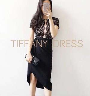 Tiffany Lace Dress Scuba Import (Black)