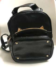 Small Korean Backpack with Stud & Cat Ears