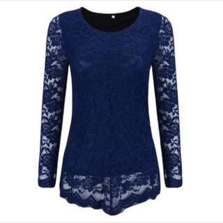 PLUS SIZE Long Sleeve Lace Top