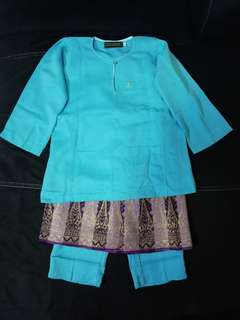 Preloved Kid Baju Melayu Johor (Turqoise)