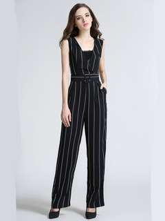 AO/KZC072451 - European V-Neck High Waist Stripes Long Jumpsuit (without camisole/tube)