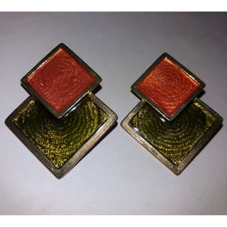 QYOP Pink Green Layered Square Earrings