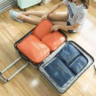 BN Set of 6 Dark Navy Blue Travel Laundry Bag Pouch