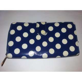 QYOP BN Blue White Polka Dot Long Wallet