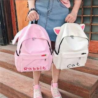 Adorable Rabbit Bunny Cat Bear Ears backpack haversack; shoulder sling bag; cute adorable sweet; girl woman women female lady ladies; kpop Korean jpop; white brown pink monochrome; zips zippers