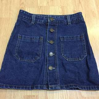 Jeans Skirt Front Button