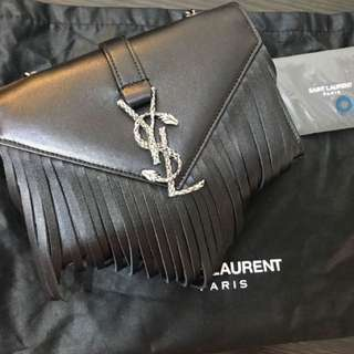 Saint Laurent YSL fringed leather bag