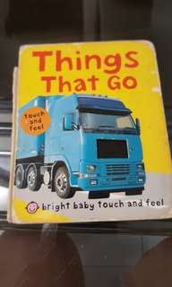 Baby hardcover book - things that go (touch and feel)