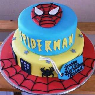 SPIDER MAN 2 LAYER FONDANT CAKE