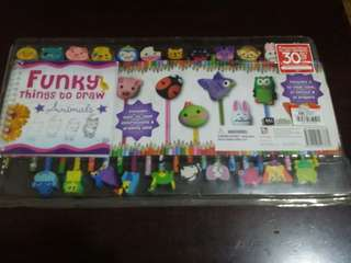 22pcs animal pencils w erasers and small book