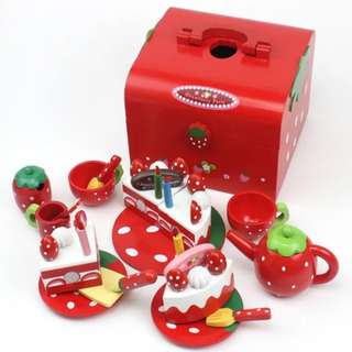 BN Wooden Strawberry Red Afternoon Tea Birthday Cake Party Toy Set