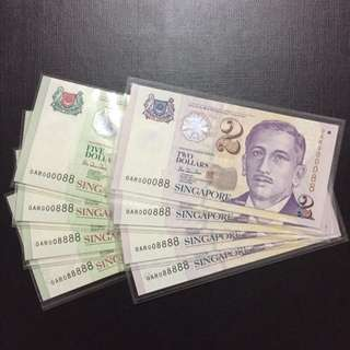 Matching super serial $2 & $5 Singapore HTT Notes (Gem UNC)