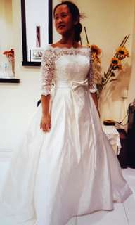 (BNIB) Lace Illusion Neckline, Button Up Back, Full Skirt, Built In Crinoline, Long Train White Wedding Dress