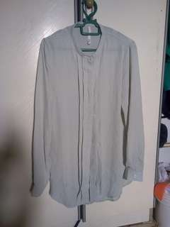 Mint green pleated chiffon long sleeved top