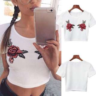Crop top rose/ mawar
