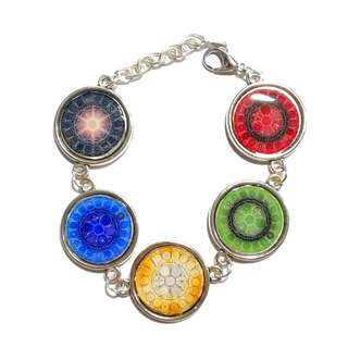 Handmade Tibetan Buddhism, 5- Colored Diamond Wheel Tibetan Dzogchen His Holiness Curse Collection  Resin Bracelet (转运、消灾、开智、得福,此【金刚藏大圆满尊胜咒轮集合)