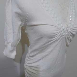 🚚 衣櫃出清 性感 白色 長版 夏天 鑽石 抓皺 短袖 上衣 洋裝 便宜 夜店 洋裝 二手衣 衣櫃 出清
