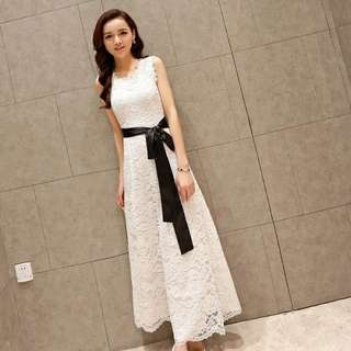 Women's chiffon lace white long maxi casual dresses / pre-order 8 to 11 days