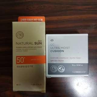 the face shop tinted sun cream, cc cushion