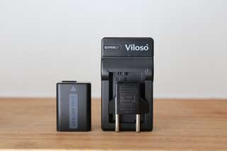 Viloso battery charger with one battery ( for sony np-fw50)