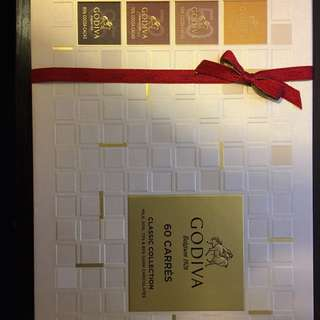 100% new Godiva 60 CARRES CLASSIC COLLECTION 全新未拆封Godiva 60 片朱古力