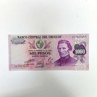 🚚 【藏閣】烏拉圭90年代1000-PESOS紙鈔