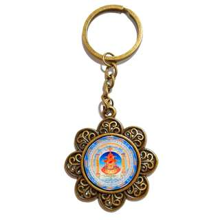 Handmade  Great treasure broad Pavilion good to live in the secret of the Magic wheel  Resin Key Chain (大宝广博楼阁善住秘密陀罗尼)