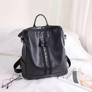 Black Bag; formal casual; shoulder backpack haversack back pack; woman women female girl lady ladies; working adult mature; black monochrome; Korean kpop; smooth zips zippers
