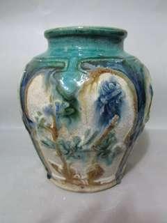清代: 綠釉開窗罐
