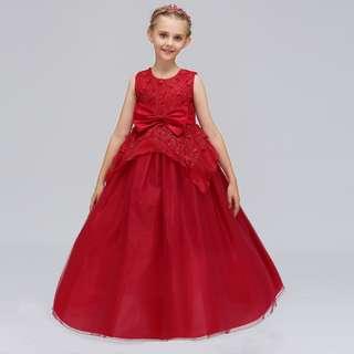 Girls Petal Dress Long Gown Bow Flower Girl Princess Dress Red