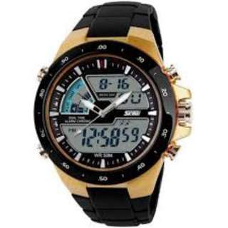 SKMEI AD1016 GOLD CASE WITH PU STRAP WATCH FOR MEN - COD FREE SHIPPING