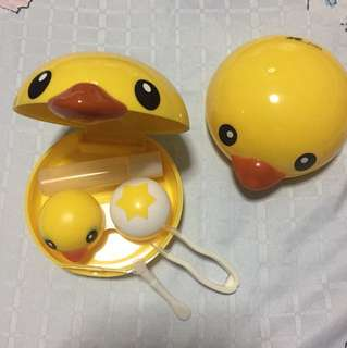 Cute yellow chic duck Contact lens case