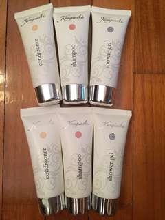 2 sets of travel size shampoo, conditioner & shower gel from Kempinski