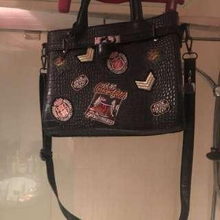 Faux leather black shoulder bag