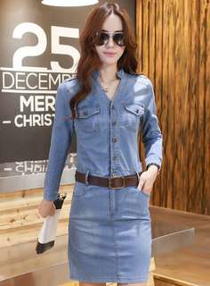 AO/HHC070525 - Korean OL Wholesale Single-Breasted V-Neck Skinny Long Sleeve Denim Dress
