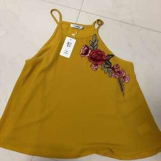 BN Temt Yellow/Mustard Floral Halter Top