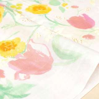 Nani iro Kokka Fuccra Rakuen floral art print double gauze cotton fabric 50cm