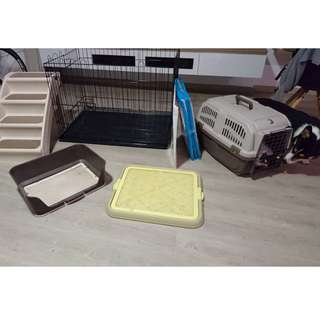 Clearing out sale! Dog crates, pee trays and stairs.