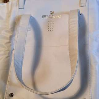 Swarovski white leather tote