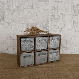 RENT: Vintage Metal Wood Drawer Compartment