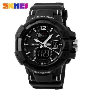 SKMEI AD1040 ALL BLACK RUBBER STRAP WATCH FOR MEN - COD FREE SHIPPING
