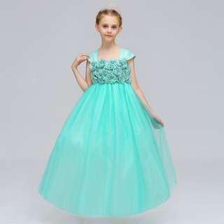Elegant Unique Shoulder Rose Flowers Long Gown Dress Turquoise