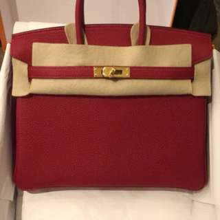 Birkin 25 Togo cc red
