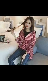 Korean long sleeve stripe shirt